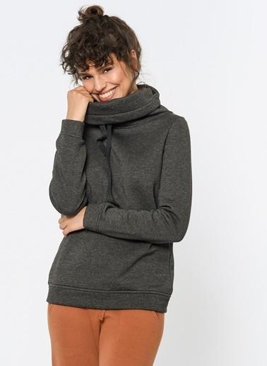 Loves You Degaje Yaka Şardonlu Sweatshirt Antrasit